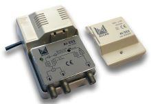 ALCAD AI-233_ zesilovač,1 vstup TV, 2 výstupy, zpětný kanál 0-65 MHz