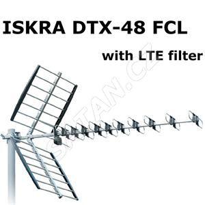 ISKRA DVB-T/T2 anténa DTX-48F FCL,  LTE filtr 400 a 800, F konektor, 11-16 dB