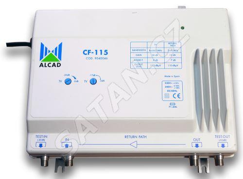 ALCAD CF-115 G=40 dB, pasiv.zpětný kanál 5-65 MHz, reg. zes. a náklonu