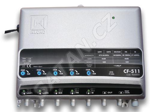 ALCAD CF-511 5 vstupů (UHF-UHF-BIII-BI-FM), G=40 dB, reg., 115 dBµV