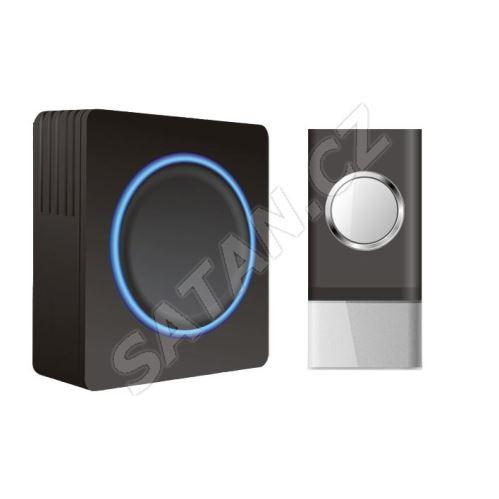 Solight bezdrátový zvonek, do zásuvky, 120m, černý