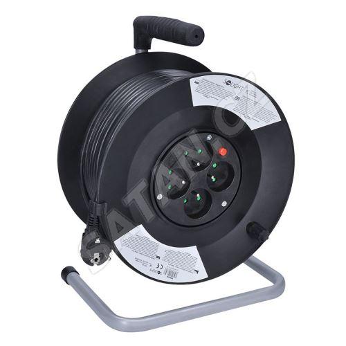 Solight prodlužovací přívod na bubnu, 4 zásuvky, 50m, černý kabel, 3x 1,5mm2