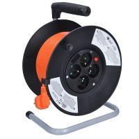 Solight prodlužovací přívod na bubnu, 4 zásuvky, 25m, oranžový kabel, 3x 1,5mm2
