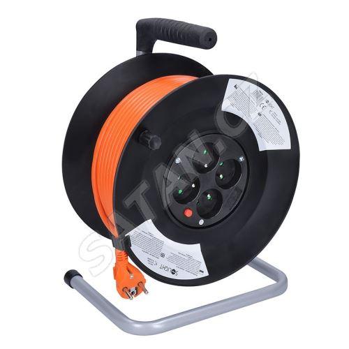 Solight prodlužovací přívod na bubnu, 4 zásuvky, 50m, oranžový kabel, 3x 1,5mm2
