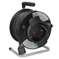 Solight prodlužovací přívod na bubnu, 1 zásuvka, 50m, černý kabel, 3x 1,5mm2