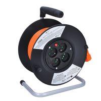 Solight prodlužovací přívod na bubnu, 4 zásuvky, 25m, 3x 1,0mm2, oranžový kabel