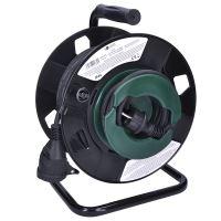 Solight prodlužovací přívod na bubnu, 1 zásuvka, venkovní, 25m gumový kabel, 3x 1,5mm2, IP44