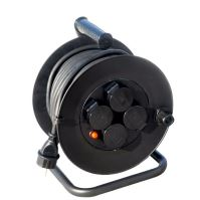 Solight prodlužovací přívod na bubnu, 4 zásuvky, venkovní, 25m gumový kabel, 3x 1,5mm2, IP44