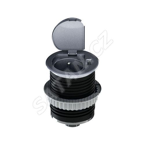 Solight USB vestavná zásuvka s víčkem, 1 zásuvka, plast, délka 1,5m, 3x 1mm2, USB 2100mA, stříbrná