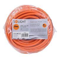 Solight prodlužovací přívod - spojka, 1 zásuvka, 25m, 3 x 1,5mm2, oranžová