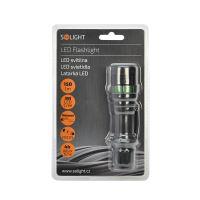 Solight kovová svítilna, 3W CREE LED, černá, fokus, 3x AAA