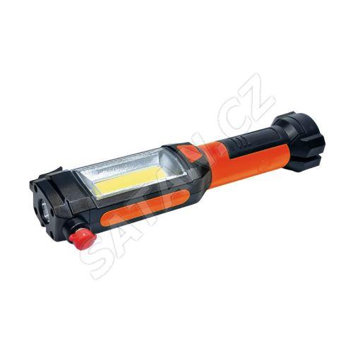 Solight multifunkční LED světlo, 3W COB + 1W LED, klip, magnet, flexibilní, 3x AAA