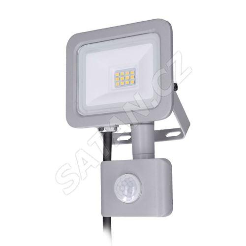 Solight LED reflektor Home se sensorem, 10W, 750lm, 4000K, IP44, šedý