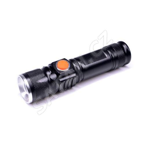 Solight LED kapesní nabíjecí svítilna, 3W, 200lm, USB, Li-ion